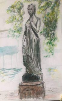 Din a3, Julia aus verona, Statue in bingen, Mischtechnik