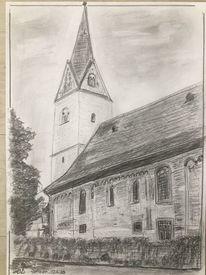 Kirche, Wiesbaden, Bleistiftzeichnung, Zeichnungen