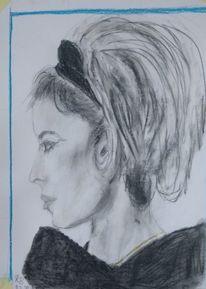 Schön, Frau, Bleistiftzeichnung, Zeichnungen