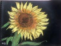 Sommer, Sonnenblumen, Kreide, Zeichnungen
