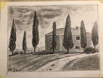 Bleistiftzeichnung, Urlaub, Toskana, Zeichnungen