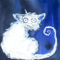 Blau, Tiere, Fantasie, Aquarell