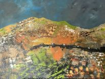 Landschaft, Hügel, Spachteltechnik, Malerei