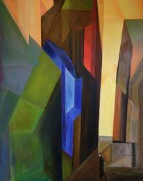 Acrylmalerei, Stadt, Abstrakt, Malerei
