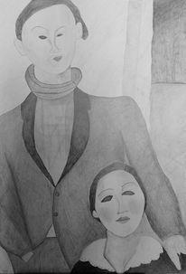 Bleistiftzeichnung, Paar, Menschen, Zeichnungen