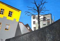 Stadt, Acrylmalerei, Winter, Malerei