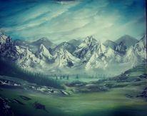 Berge, Landschaft, Malerei, Natur