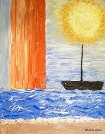 Gold, Gelb, Meer, Acrylmalerei