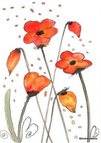 Rot, Aquarellmalerei, Landschaft malerei, Blumen