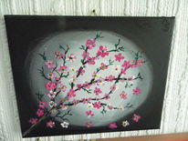 Dämmerung, Gedanken, Acrylmalerei, Kirschblüte