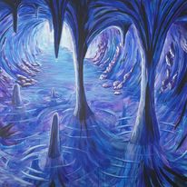Höhle, Acrylmalerei, Blau, Malerei