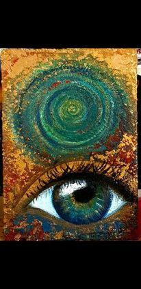 Wach, Acrylmalerei, Augen, Spirale