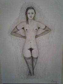 Bleistiftzeichnung, Menschen, Behaart, Frau