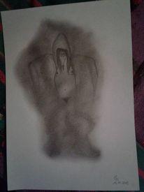 Akt, Brust, Bleistiftzeichnung, Rauch