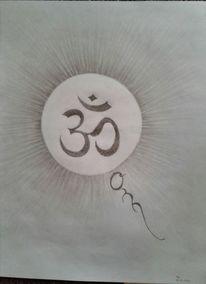 Bleistiftzeichnung, Spirituell, Om, Geist