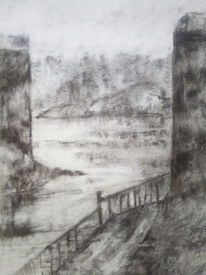 Meer, Landschaft, Architektur, Zeichnungen