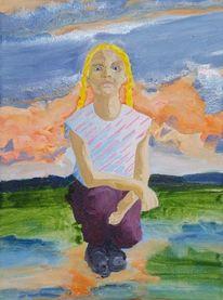 Mädchen, Landschaft, Sonnenuntergang, Malerei