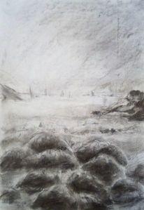 Meer, Seegelboote, Landschaft, Zeichnungen