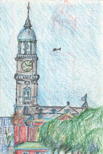 Zeichnung, Stadt, Kirche, Zeichnungen