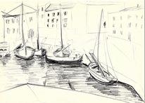 Dorf, Zeichnung, Fischer, Adria