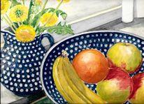 Aquarell martha krug, Obst, Keramik und blumen, Malerei