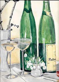 Martha krug, Ca sechziger jahre, Aquarellmalerei, Weingedeck