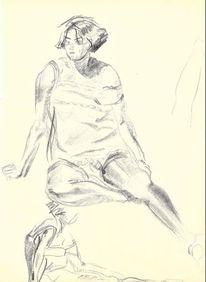 Frauenstudie, Zeichnung, Martha krug, Zeichnungen