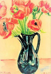 Martha krug, Gartenblumen, Schwarz, Mohnzeichnungreihe