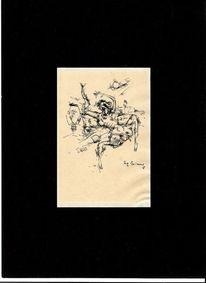 Expressionistische zeichnung, Max schwimmer, 1918, Zeichnungen