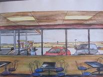 Gouachemalerei, Architektur, American diner, Aquarell