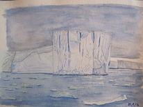 Eisberg, Antarktis, Landschaft, Gouachemalerei