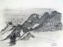Landschaft, Winter, Bleistiftzeichnung, Zeichnungen