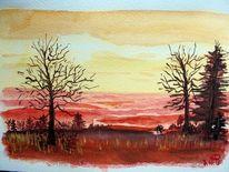 Sonnenuntergang, Aquarellmalerei, Landschaft, Aquarell