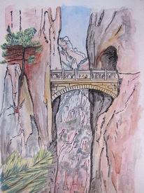 Brücke, Aquarellmalerei, Landschaft, Aquarell