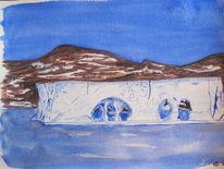 Eisberg, Gouachemalerei, Reiseskizze, Antarktis