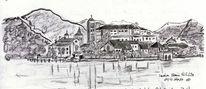 Bleistiftzeichnung, Reiseskizze, Insel, Zeichnungen
