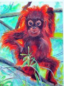 Acrylmalerei, Orangutan, Tiere, Malerei
