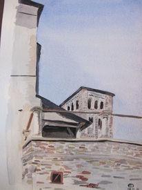 Aquarellmalerei, Turm, Architektur, Aquarell