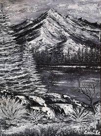 Winterlandschaft, Schwarzweiß, Acrylmalerei, Winter