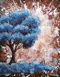Baum, Braun, Abstrakt, Blau