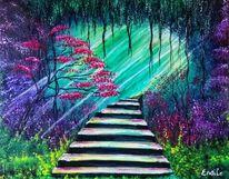Acrylmalerei, Landschaft, Mystik, Pflanzen