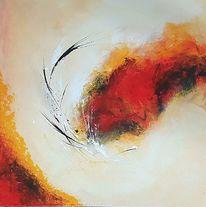 Orange, Weiß, Abstrakt, Gemälde