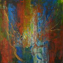 Blau, Moderne malerei, Acrylmalerei, Rot gelb