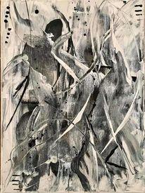 Acrylmalerei, Malerei abstrakt, Malerei acrylmalerei, Schwarzweiß