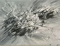 Acrylmalerei, Spachteltechnik, Abstrakt, Schwarz