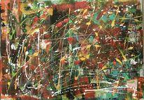 Acrylmalerei, Tropftechnik, Gemälde, Pinsel