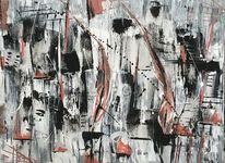 Gemälde, Malerei abstrakt, Spachteltechnik, Schwarz weiß rot