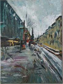 Landschaft, Mönckebergstraße im winter, Ölmalerei, Malerei