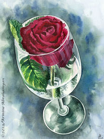 Rot, Blumen, Zeichnung, Glas