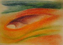 Fluss, Farben, Kohlezeichnung, Fisch